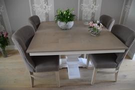 Eiken vierkante tafel mozaiek vorm en KT1 poot