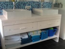 Badkamer meubel van steigerhout met 2 lades en schap (WIT)