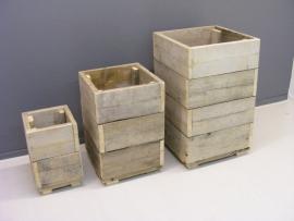 Bloembakken / plantenbakken set steigerhout  in diversen maten