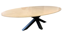 Tafelblad Ovaal marmer Crema Marfil Beige afmeting 160x100cm