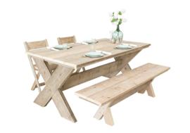 Tafel complete set incl. 2 stoelen en 1 bank van steigerhout met x-onderstel ( SET)