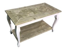 Sidetable van oud steigerhout met een mozaiekblad afm: L130xB70xH75cm (voorraad koopjeshoek)