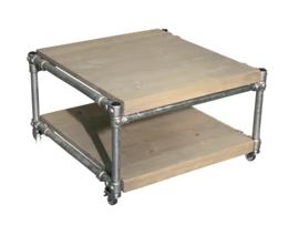 Salontafel van greywash steigerhout & steigerbuis afm: L100xB100xH46cm (voorraad magazijn artikel)