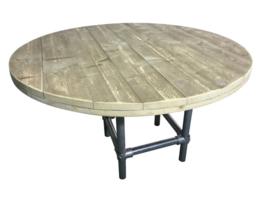 Tafel oud steigerhout rond met steigerbuis onderstel afm: D130xH76cm (voorraad magazijn artikel)