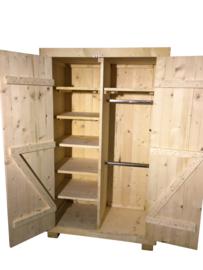 Kledingkast nieuw steigerhout met 6 schappen en 2 hang gedeeltes (KM6)