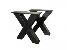 Stalen onderstel  model X bank koker 8x8cm (STRIP)