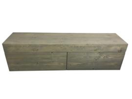 Badkamermeubel zwevend van steigerhout met 2 lades naast elkaar (ZWG)