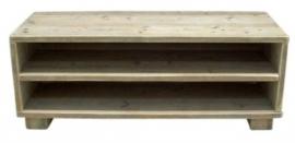 Tv meubel van steigerhout met schappen onder elkaar