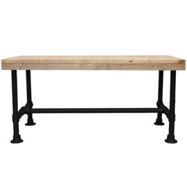 Doe-Het-Zelf bouwpakket tafel met zwarte steigerbuis van oud of nieuw steigerhout