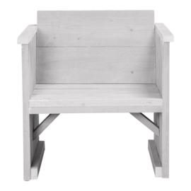 Loungestoel steigerhout kleur schelpwit