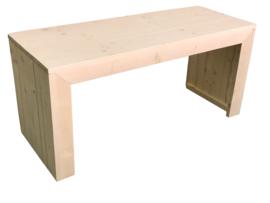 Bureautafel/kinderspeeltafel van nieuw steigerhout whitewash afm: L140xB55xH65cm (voorraad magazijn artikel)