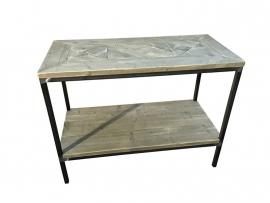 Sidetable oud steigerhout met stalen buisframe met schap en mozaïek blad 105x50x80 (SCHAP)