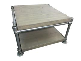 Salontafel zonder wielen van steigerbuis en nieuw steigerhout behandeld met greywash