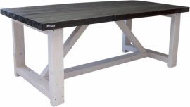 Tafel dikke steigerplanken met houten whitewash onderstel