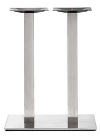Horeca Sta-tafelonderstel vierkant Dubbel RVS look