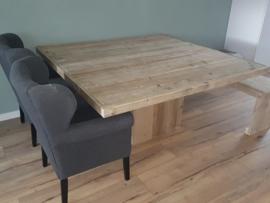 Tafel van steigerhout vierkant model lijst rondom