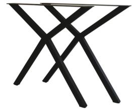 Stalen tafel onderstel model oneven kruis X koker 5x5cm (STRIP)