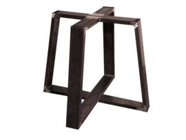 Stalen tafel onderstel model Chantaldubbel koker 10x3cm L240cmxB80cmxH74cm - Zwart gepoedercoat  (voorraad magazijn artikel)