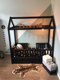 Peuterbed bedhuisje CABIN, 70 x 160 cm zwart