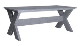Eettafel Kruispoot steigerhout beton grijs