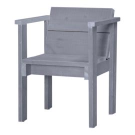 Diner stoel open steigerhout kleur beton grijs