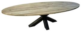 Industriële tafel stalen dubbele X onderstel met een rustiek eikenhouten *geimpregneerd ovaal blad afm: L300xB100xH74cm (voorraad magazijn artikel)