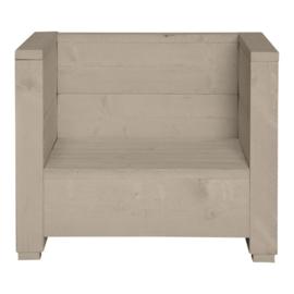 Steigerhouten loungestoel Varia beton zand