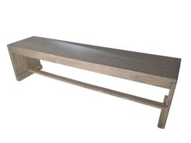Bank gemaakt van nieuw steigerhout greywash afm: L240cm (voorraad magaijn artikel)