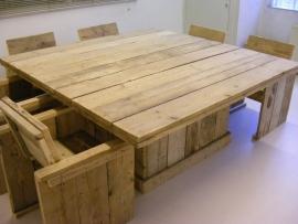 Tafel van steigerhout vierkant model
