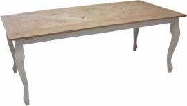 Tafel QUEEN ANNE mozaïek blad eikenhout met wit onderstel
