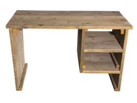 Bureau tafel oud steigerhout met onderhangend kastje