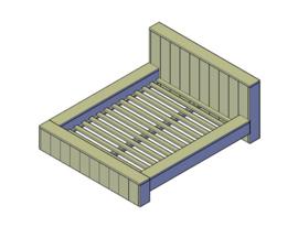Doe-Het-Zelf bouwpakket bed steigerhout tweepersoonsbed type B