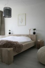 Tweepersoonsbed steigerhout blok bed met verhoogd hoofdeind (BL)