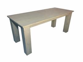 Tafel blokpoten onder het blad nieuw steigerhout behandeld met greywwash afm L200xB95cm (voorraad magazijn artikel)