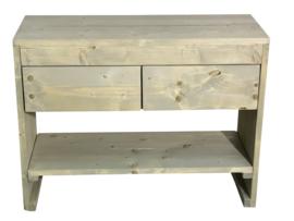 Badkamer meubel van steigerhout met 2 lades en schap (GRIJS)