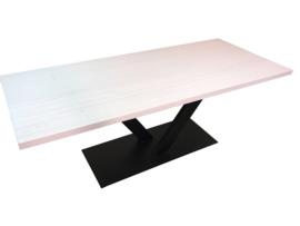Industriële tafel stalen V onderstel met een eiken whitewash blad afm: L200xB100xH79cm (voorraad magazijn artikel)