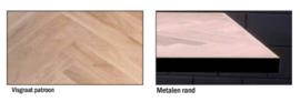 Eiken tafelbladen -Cork visgraat met metalen rand