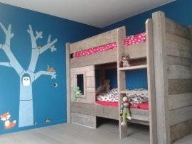 Halfhoogslaper speelhut- stapelbed steigerhout (STAPEL)