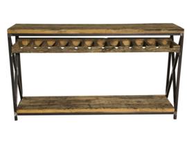 Sidetable van oud geborstelde wagonplanken voor de wijn liefhebber afm: L160xB35xH90cm