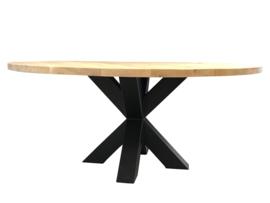 Eiken ronde tafel 4cm dik blad en dubbel stalen X onderstel