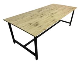 Industriële tafel met een beuken 3cm dik verlijmd blad en een stalen buisframe afm: L120xB90xH76cm (voorraad magazijn artikel)