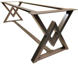 Stalen tafel onderstel dubbel driehoek frame goud gepoedercoat