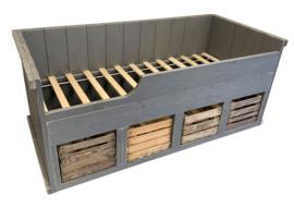 Bed steigerhout fruitkisten Koen kleur betongrijs (JPFK)