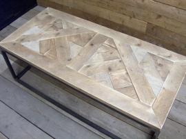 Salontafel oud steigerhout mozaïek met stalen buisframe