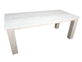Tafel gemaakt van nieuw steigerhout met whitewash afm L140xB90cm (voorraad magazijn artikel)