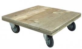 Salontafel van steigerhout met grote zwenkwielen (100x100)