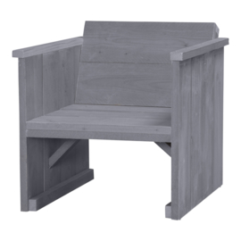 Loungestoel steigerhout kleur beton grijs