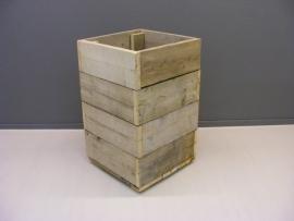 Bloembak / plantenbak oud steigerhout 50x50x85cm