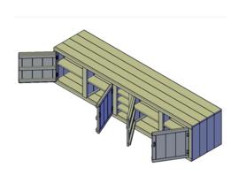 Doe-Het-Zelf bouwpakket steigerhout Buitenkeuken Kast L3700 H900