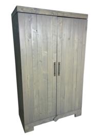 Kledingkast steigerhout met greywash met 6 schappen en 2 hang gedeeltes (KZ6)